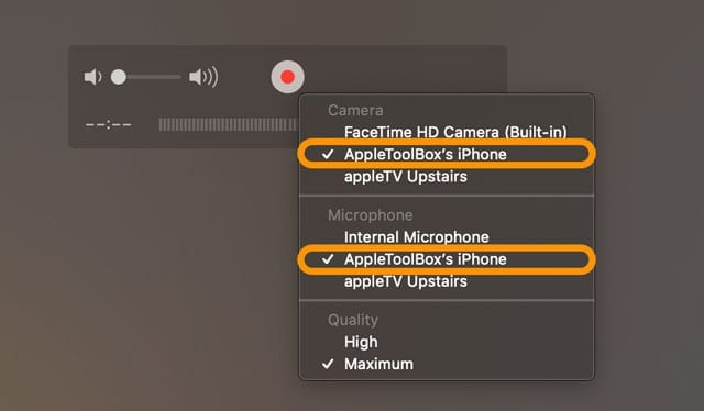 iPhone in Quicktime New Movie Recording settings