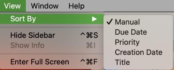 Sort Reminders List-Mac