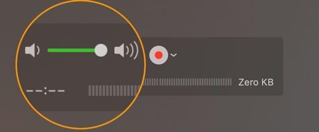 Quicktime recording volume indicator