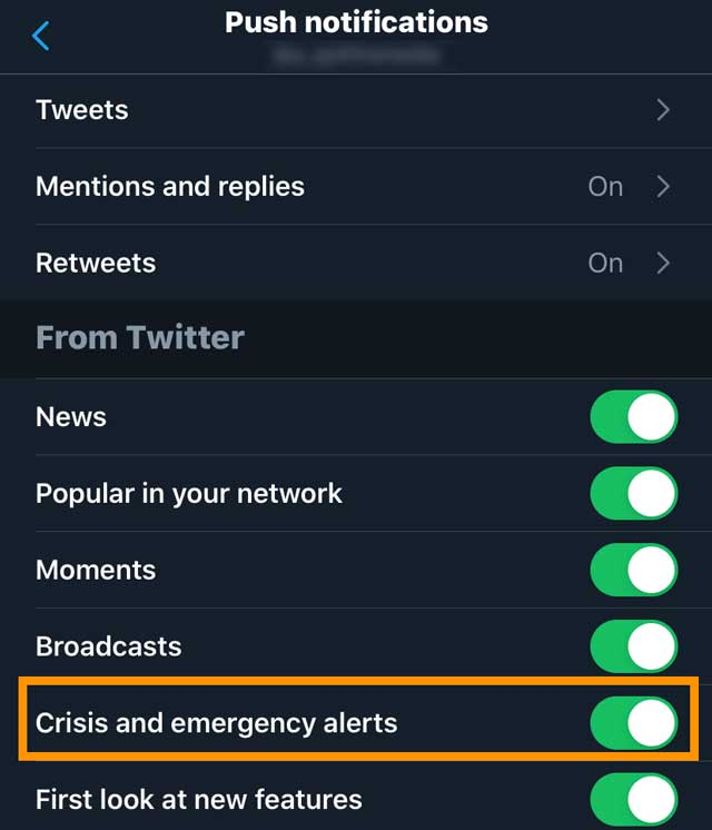 emergency alerts via the Twitter app on iPhone