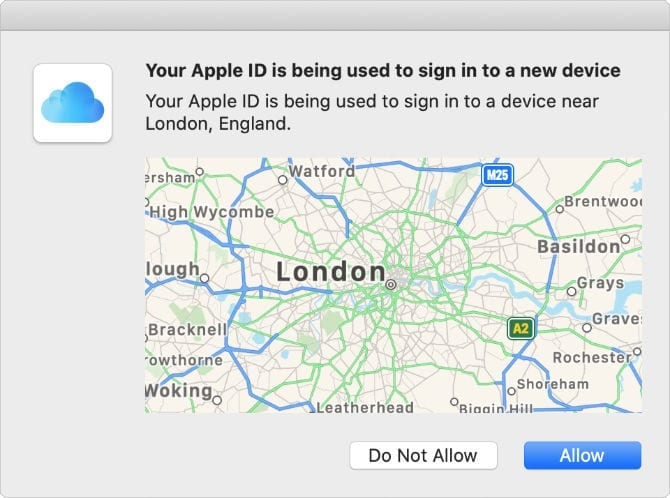 Two-factor authentication map location alert