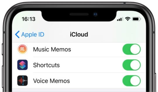 Voice Memos option in iCloud options on iPhone