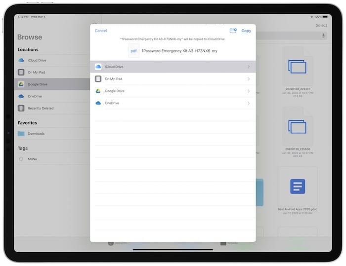 iCloud Drive on Files App on iPad