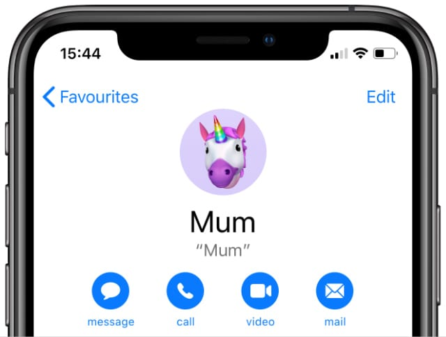 iPhone Contact showing Edit button and contact options