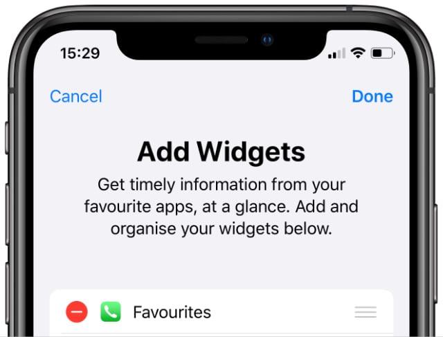 iPhone Widgets edit screen with Favourites widget option