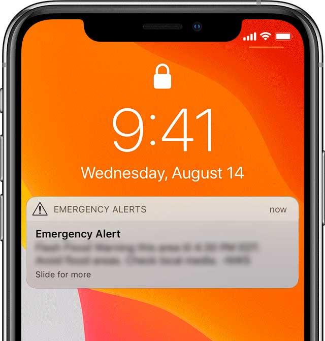 emergency alert iphone