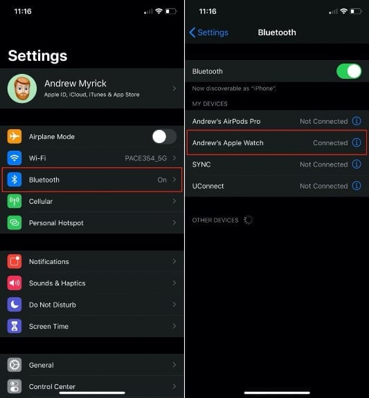 Apple Watch in iPhone Bluetooth Settings