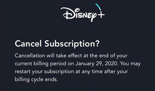Disney Plus or Disney+ cancel subscription
