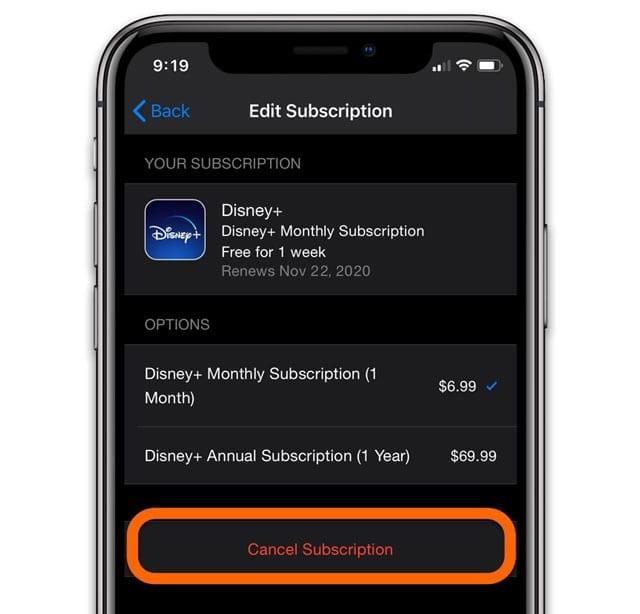 Cancel Disney Plus or Disney+ on iPhone subscriptions
