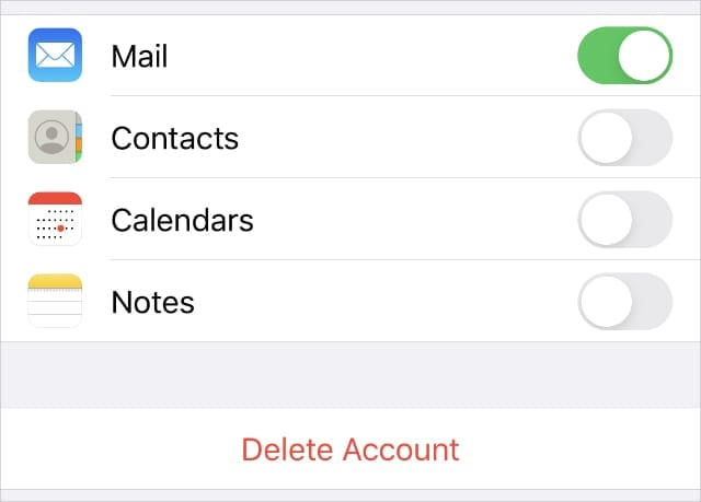 Delete email account option in iPhone settings