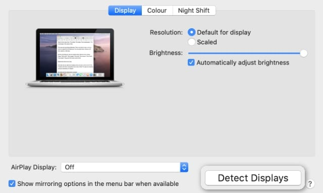 Detect Displays button in Display System Preferences