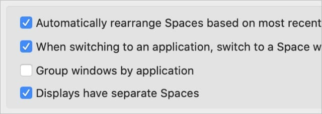 Displats have separate Spaces Mission Control System Preferences
