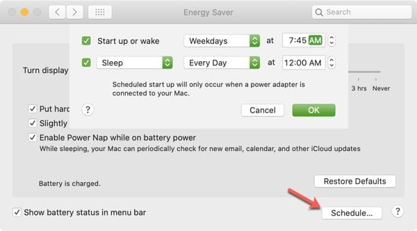 Mac Energy Saver Schedule