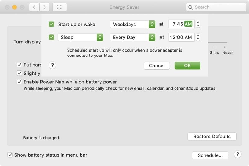 Mac Energy Saver Set Schedule