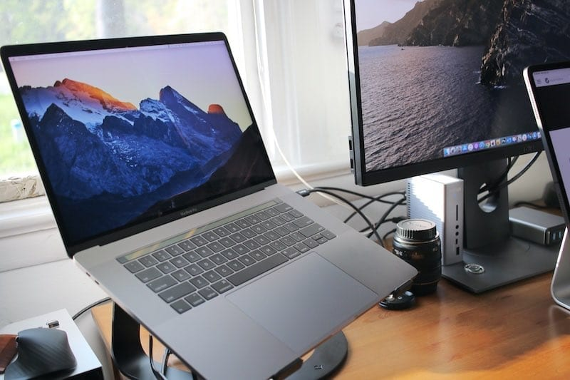 MacBook Pro 2019 on Stand on Desk