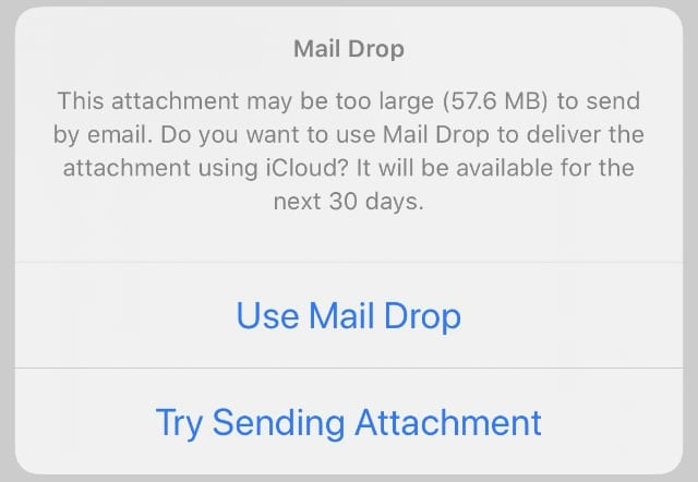 Mail Drop attachment size notification on iPhone