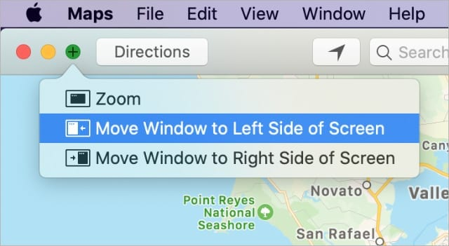 Move Window to Left Side of Screen option on Mac