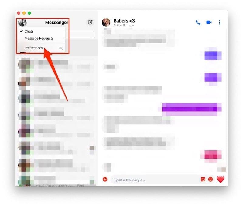 Open Preferences Facebook Messenger on MacBook