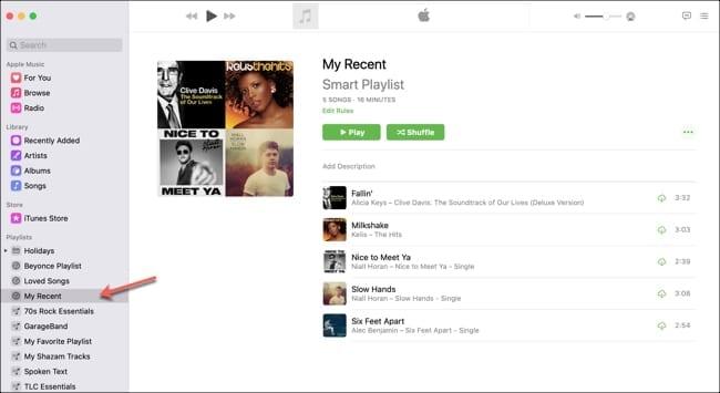 Playlist Recently Added Music-Mac