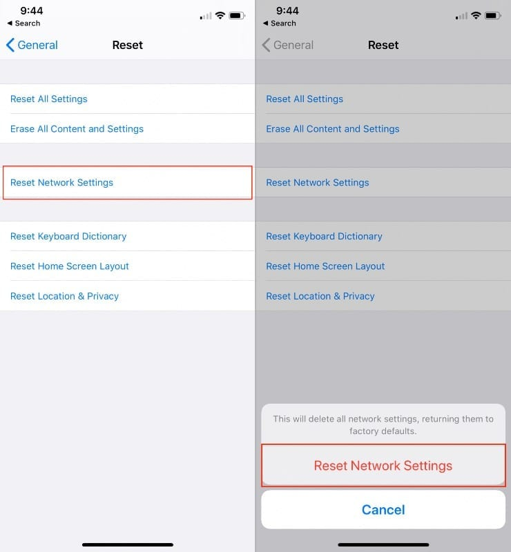Reset Network Settings on iPhone 2