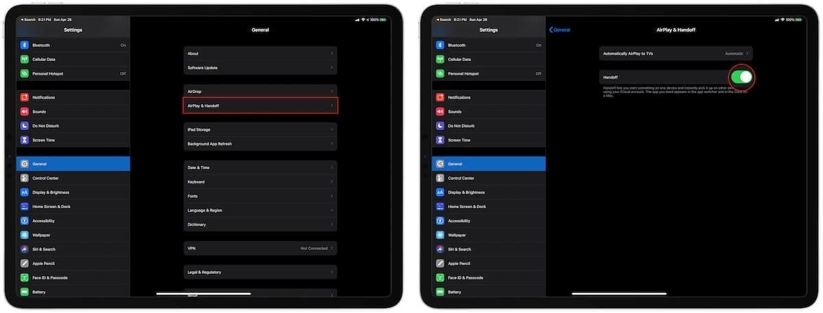 Set up Handoff on iPad Pro