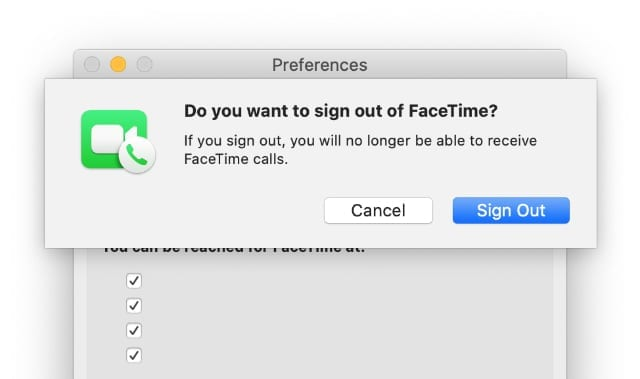 Sign Out of FaceTime option on Mac