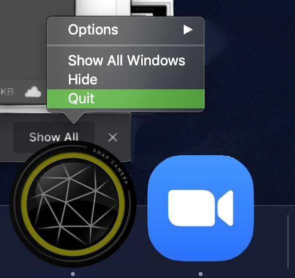 quit snap camera app on mac