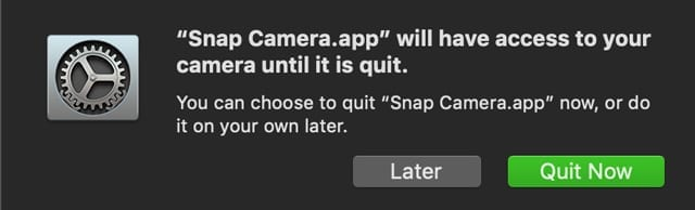 snap camera privacy settings on Mac in System Preferences for camera