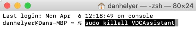 Terminal showing kill VDC Assistant command