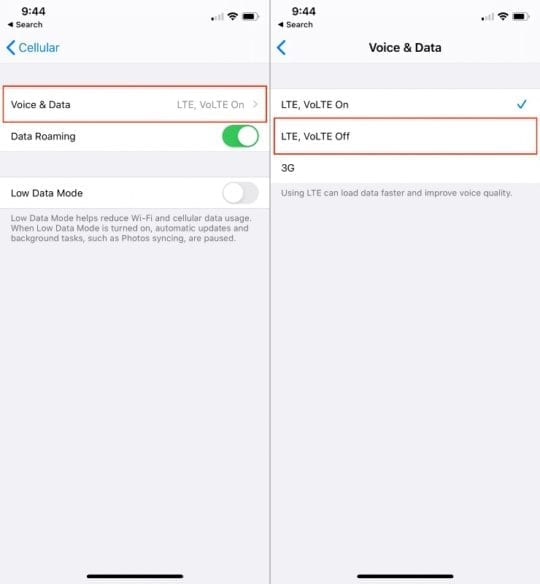 Turn off VoLTE on iPhone 2