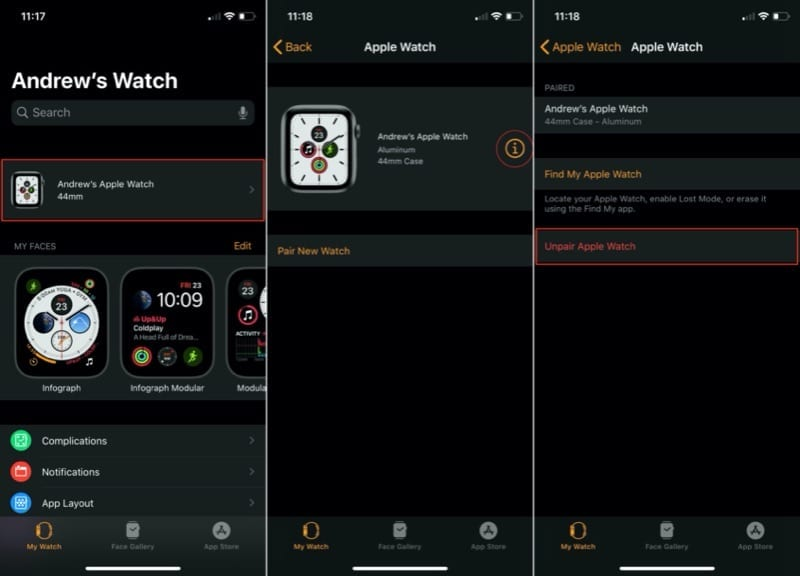 Unpair Apple Watch from Watch app