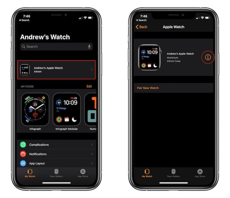 Unpair Watch from iPhone 1