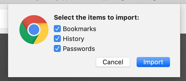 choose to import chrome passwords into Safari and iCloud keychain