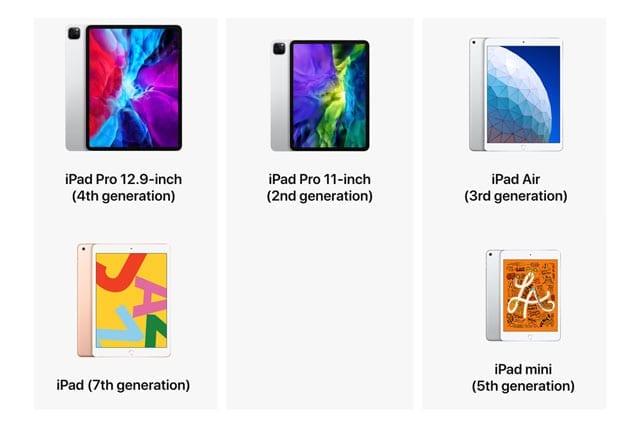 iPad 2020 models