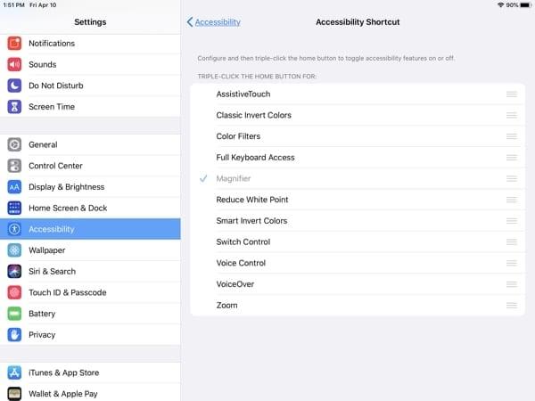 iPad Accessibility-Accessibility Shortcut