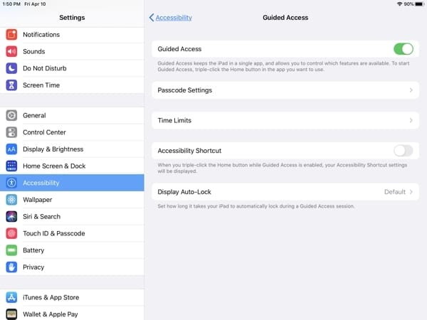 iPad Accessibility-Guided Access