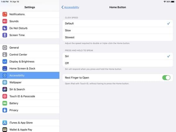iPad Accessibility-Home Button