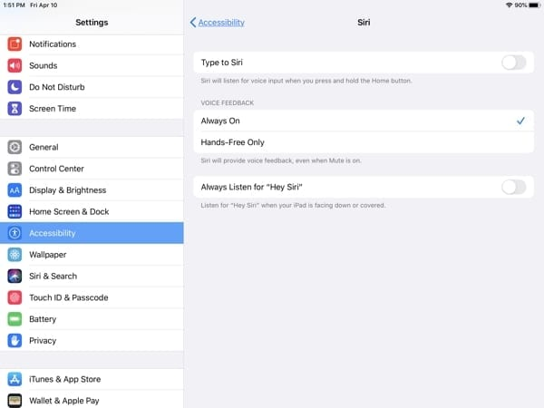iPad Accessibility-Siri