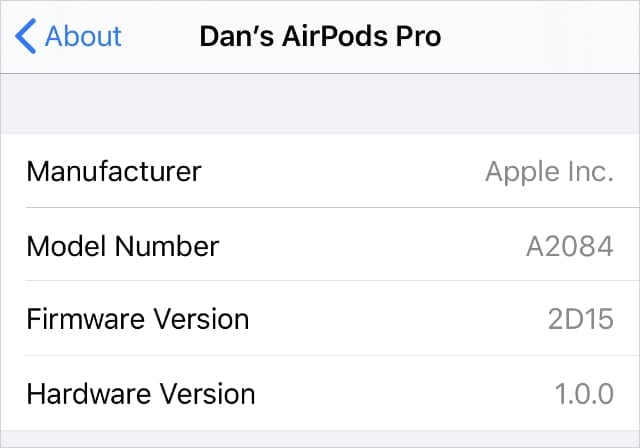 AirPods Pro firmware version from iPhone settings