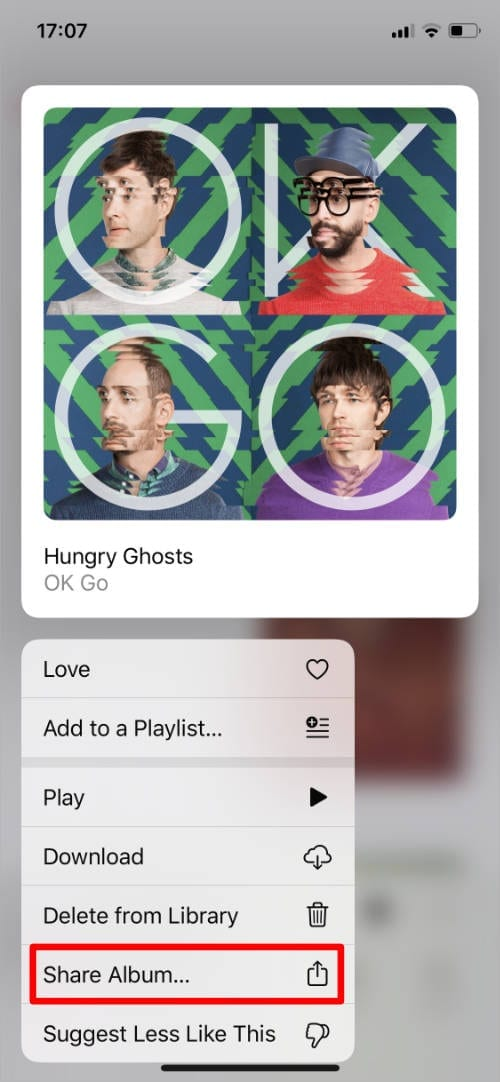 Apple Music album Quick Action with Share Album button
