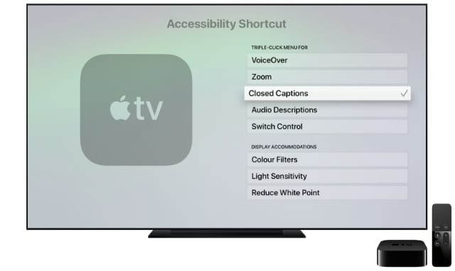 Apple TV Accessibility Shortcut settings