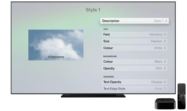 Apple TV subtitles style menu