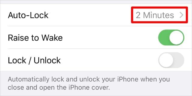 Auto-Lock option in Display & Brightness settings