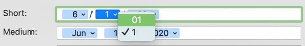 Date Display Leading Zero-Mac