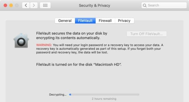 FileVault decrypting progress bar
