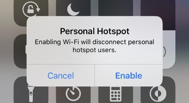 Hotspot Alert before disconnecting
