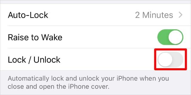 Lock : Unlock option in iPhone Display & Brightness settings