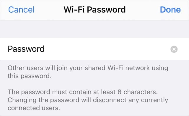 Personal Hotspot Wi-Fi password page