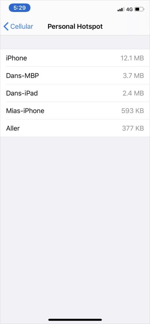 Personal Hotspot data usage