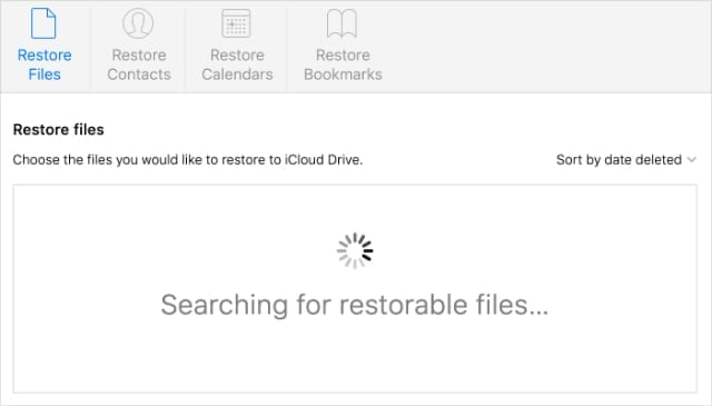 Searching for restorable files on iCloud website